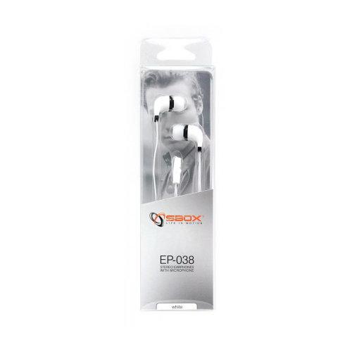 Slušalice sa mikrofonom SBOX EP-038 Bijele